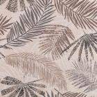 Tissu Toile Coton Aspect Lin Feuilles de palmiers beiges, grises et noires sur fond Beige - Par 10 cm