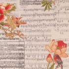 Tissu Toile Coton Aspect Lin Partitions, fleurs et oiseaux rouges, verts et beiges sur fond Beige - Par 10 cm