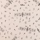 Tissu Toile Coton Aspect Lin Notes de musique noires sur fond Beige - Par 10 cm