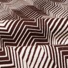 Tissu Gianni Maille Extensible Chocolat Chevrons et rayures Blanches - Par 10 cm