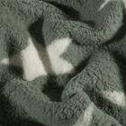 Fausse fourrure mouton Etoiles blanches sur fond Vert kaki - Par 10 cm