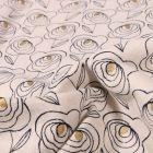 Tissu Coton Lin Dashwood Studio Midnight Garden Rosaces sur fond Blanc cassé - Par 10 cm