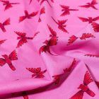 Tissu Coton Dashwood Studio Night jungle Bird sur fond Rose fuchsia - Par 10 cm