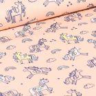 Tissu Coton imprimé LittleBird Licornes et nuages sur fond Rose pâle