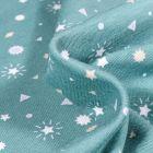 Tissu Jersey Coton Etoiles et triangles sur fond Vert menthe