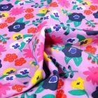Tissu Jersey Coton Fleurs seventies vitaminés sur fond Rose pâle