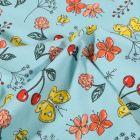 Tissu Jersey Coton Papillons cerises et fleurs sur fond Bleu ciel