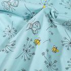 Tissu Jersey Coton Pissenlit et papillons sur fond Bleu ciel