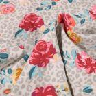 Tissu Jersey Coton Tâches léopard et fleurs colorées sur fond Gris clair