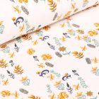 Tissu Jersey Coton Petites fleurs et feuilles sur fond Blanc cassé