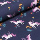 Tissu Jersey Coton Licornes et petites fleurs sur fond Bleu marine