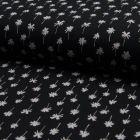 Tissu Jersey Piqué de coton spécial Polo Palmiers sur fond Noir - Par 10 cm
