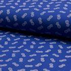 Tissu Jersey Piqué de coton spécial Polo Ananas sur fond Bleu roi - Par 10 cm