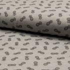 Tissu Jersey Piqué de coton spécial Polo Ananas sur fond Gris clair - Par 10 cm