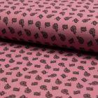 Tissu Jersey Piqué de coton spécial Polo Kashmir Noir sur fond Vieux rose - Par 10 cm