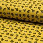 Tissu Jersey Piqué de coton spécial Polo Kashmir Noir sur fond Jaune - Par 10 cm