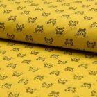Tissu Jersey Piqué de coton spécial Polo Crabes Noir sur fond Jaune - Par 10 cm