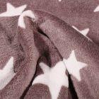 Tissu Doudou Etoiles blanches sur fond Taupe - Par 10 cm