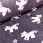 Tissu Doudou Baby licornes sur fond Gris anthracite