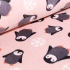 Tissu Doudou Baby pingouins sur fond Rose