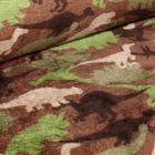 Tissu Doudou Dinosaures camouflage sur fond Marron