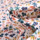 Tissu Popeline de coton Sweet Flower Roseline orange sur fond Blanc