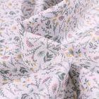 Tissu Popeline de coton  Sweet Flower Flora vert d'eau sur fond Blanc