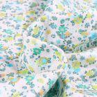 Tissu Popeline de coton Sweet Flower Louise vert sur fond Blanc