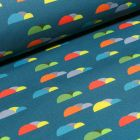 Tissu Softshell Nuages colorés sur fond Bleu pétrole