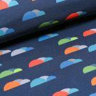 Tissu Softshell Nuages colorés sur fond Bleu marine