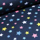 Tissu Softshell Etoiles colorés sur fond Bleu marine