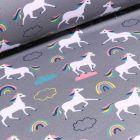 Tissu Softshell Licornes et arc en ciel sur fond Gris