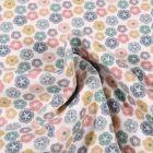 Tissu Jersey Coton Bio Pensée colorée sur fond Blanc - Par 10 cm