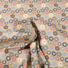 Tissu Jersey Coton Bio Pensée colorée sur fond Jaune pastel - Par 10 cm