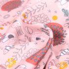 Tissu Jersey Coton Bio Fonds marins sur fond Rose