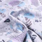 Tissu Jersey Coton Bio Fonds marins sur fond Gris