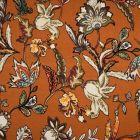 Tissu Jersey Viscose imprimé  Fleurs kaki et orange sur fond Brique - Par 10 cm