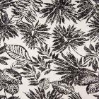 Tissu Coton Satiné extensible  Feuillages noirs sur fond Blanc - Par 10 cm