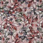 Tissu Viscose plumetis imprimé  Fleurs de lys vertes, grises et terracotta sur fond Vieux rose - Par 10 cm