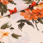 Tissu Crêpe georgette Alba orange sur fond Ecru