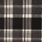 Tissu Caban Mélange Laine Carreaux blanc sur fond Noir - Par 10 cm