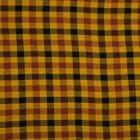 Tissu Viscose lavé  Carreaux noir et bordeaux sur fond Ocre - Par 10 cm