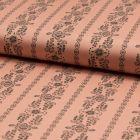 Popeline de coton satiné Romantico Colonnes fleuris noires sur fond Vieux rose - Par 10 cm