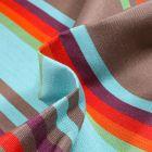 Tissu Toile extérieure Dralon Grande largeur Rayures Samba sur fond Bleu turquoise