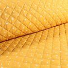Tissu Scarlett Matelassé Etoiles Blanches sur fond Moutarde - Par 10 cm
