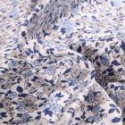 Tissu Coton imprimé Arty Léonie bleu et gris sur fond Blanc - Par 10 cm