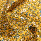 Tissu Coton imprimé Arty Léonie blanc et bleu sur fond Jaune - Par 10 cm