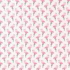 Tissu Coton Enduit Flamants roses sur fond Ecru - Par 10 cm