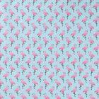 Tissu Coton Imprimé Arty Flamingo Rose sur fond Bleu - Par 10 cm