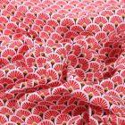 Tissu Coton imprimé  Arty Eventails rouges sur fond Blanc - Par 10 cm
